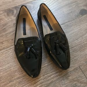 Zara Black Patent Leather Loafers w/ Tassels Sz 37
